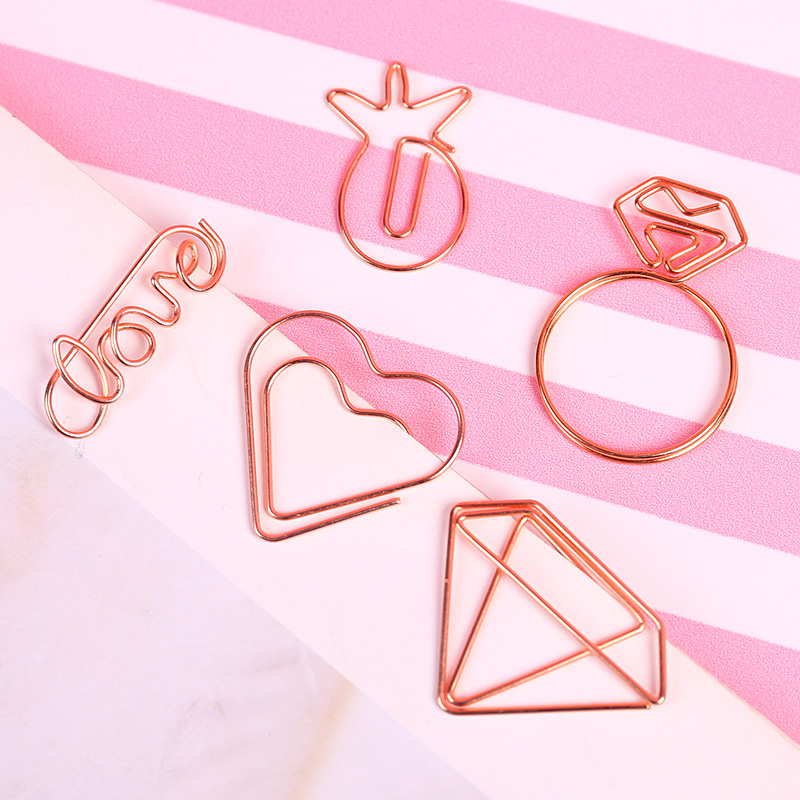 1PCS Cartoon Rose Gold Paper Clip Metal Bookmark Memo Clips Kawaii Stationery School Office Supplies image