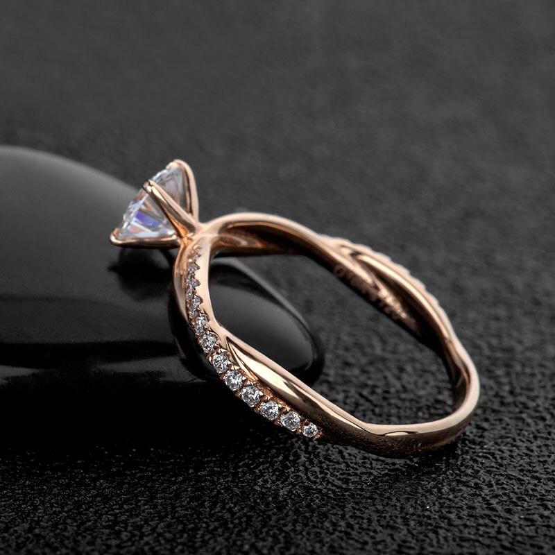 NiceGems 14k Rose Gold Moissanite แหวนหมั้นแหวน Center 2ct หรือ 1ct Moissanite Diamond แหวนสำเนียงผู้หญิงเครื่องประดับงานแต่งงาน-ใน ห่วง จาก อัญมณีและเครื่องประดับ บน   3