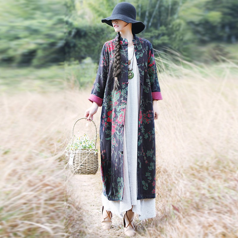 2019 new women vintage   trench   print floral wool cotton coats chinese style bat sleeve button women   trench