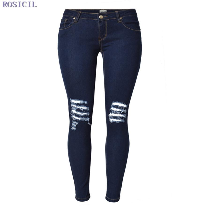 ROSICIL Hot Sale Women Jeans Pencil Pants Fashion Hole Ripped Femme Denim Pants Skinny Low-waist Female Trousers SL028# rosicil strech jeans women plus size jeans female high waist slim skinny denim pants femme pencil jeans pants trousers tp6616