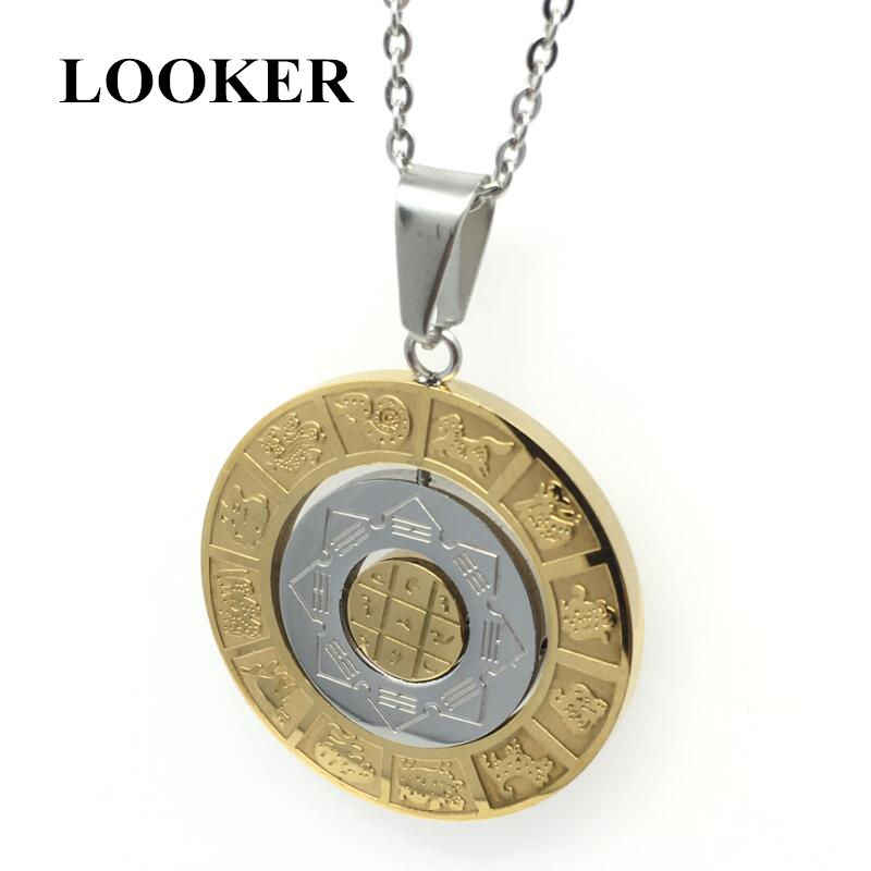 LOOKER Constellation Chart Pendant For Men Gold-Color Round Vintage Stainless Steel Pendants Necklaces