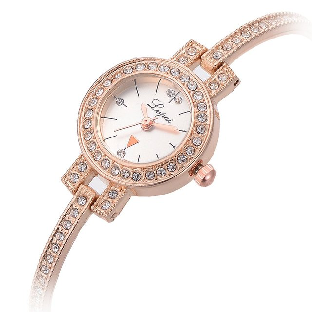 Business Women Quartz Watches Shining Rainstone Slim Chain Small Round Bracelet