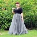 100% Fotos Reais! 7 Camadas Maxi Saias Das Mulheres Longas Senhoras Tule vestido De Baile de Casamento Saia American Apparel Faldas Saia Jupe