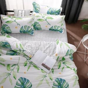 Image 2 - Home Textile Green Leaves Bedding Set 3/4pcs Geometric Bed Set White Grid Duvet Cover Set Brief Bed Linen Flat Sheet Pillowcase
