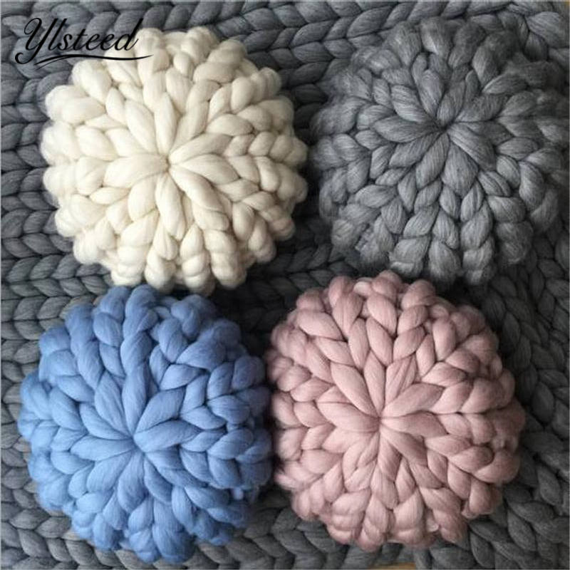 Crochet Chunky Wool Pillow Baby Room Decorative Pillows Cute Kids Car Pillow Cushion Knitting Pillow Birthday Christmas Gift цена