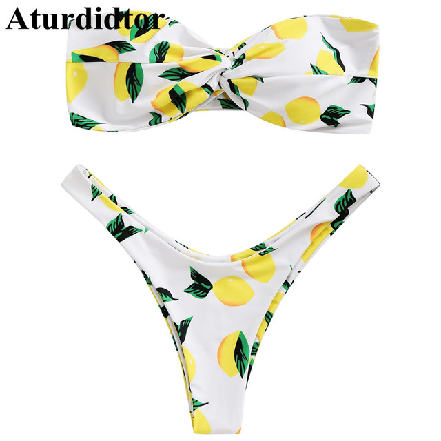 3d4fe9949d2 Aturdidtor Women Sexy Bandeau Bikini Lemon Print Twist Biquini Swimsuit  Summer Swimwear Bathing Suit Female Beach Wear Swim Suit