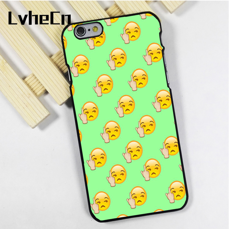 LvheCn phone case cover fit for iPhone 4 4s 5 5s 5c SE 6 6s 7 8 plus X ipod touch 4 5 6 Emoji Swearing Funny Pattern