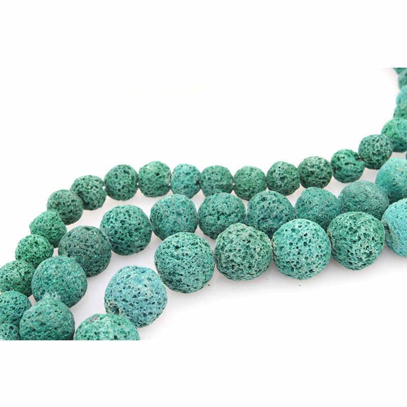 6-16mm natural redondo azul-verde lava pedra grânulos para fazer jóias contas pulseiras 15 neeneeneedlework diy grânulos trinket