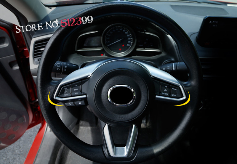 1 Piece Matte Chrome Interior Steering Wheel Decorative Frame Trim For Mazda CX9 CX-9 2nd Gen. 2016 2017 2018 Car Accessories for mazda cx 5 cx5 2nd gen 2017 2018 interior custom car styling waterproof full set trunk cargo liner mats tray protector