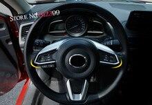 Цельнокроеное платье матовый хром подкладке руль декоративные Рамка Накладка для Mazda CX9 CX-9 2nd генерал 2016 2017 2018 автомобилей Аксессуары