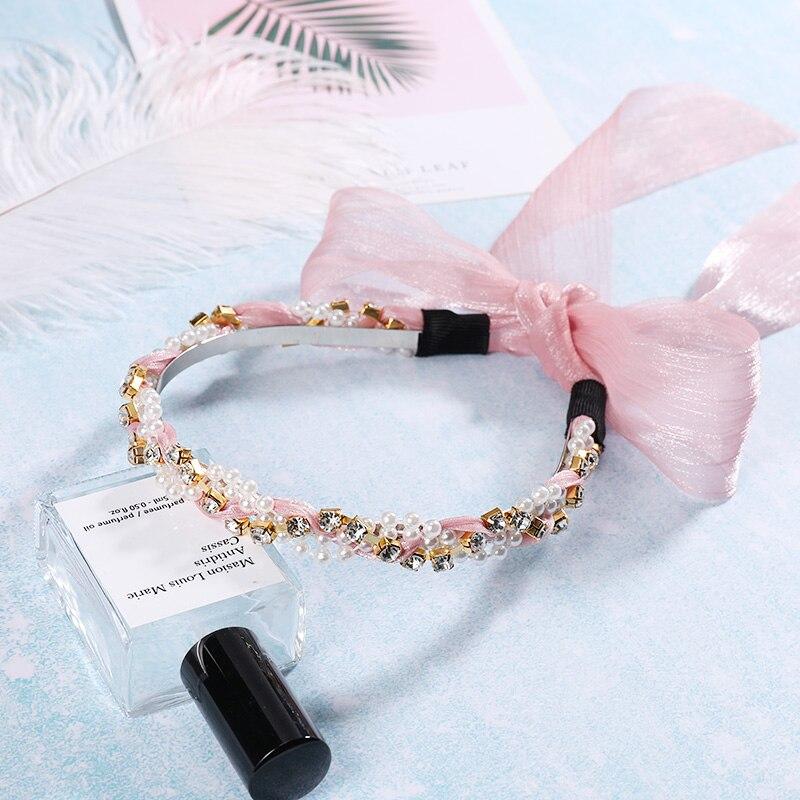 2020 New Fashion Women Elegant Crystal Pearl Long Ribbon Hairbands Hair Ornament Lady Headbands Girls Headwear Hair Accessories