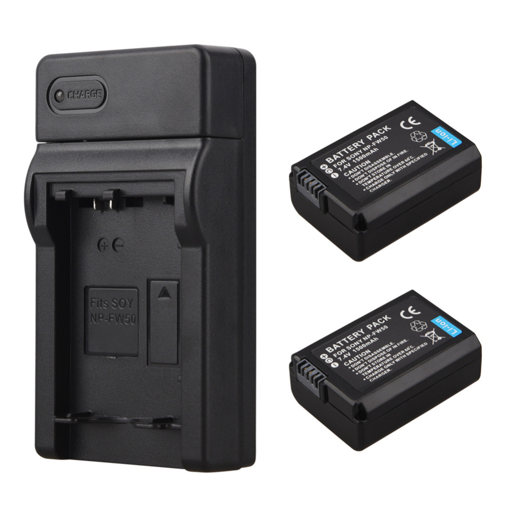 2x 1500mAh NP-FW50 Digital <font><b>Battery</b></font>+USB Charger For <font><b>Sony</b></font> <font><b>Alpha</b></font> 7 a7 7R a7R 7S a7S a3000 <font><b>a5000</b></font> a6000 NEX-5N Video Camera <font><b>Batteries</b></font> image