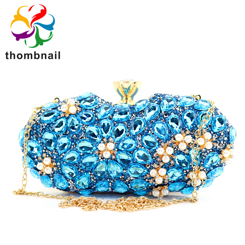 Dazzling Light Blue Sapphire Crystal Clutch Evening Bag Wedding Party Box Handbag And Purse Women Minaudiere Bag