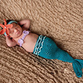 Newborn Baby Photography Props Infant Baby Mermaid Costume Winter Kawaii Handmade Fish Starfish Girls Headband Kids Beanie Hat