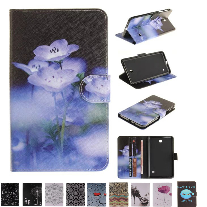 TX-DX Pu Leather Stand Tablet Cover Cute Case For Samsung Galaxy Tab 4 7.0 inch SM T230 T231 T235 Fundas Coque W/Card Slots cartoon painted flip silicon leather case for samsung galaxy tab 4 7 0 t230 t231 t235 sm t230 case cover tablet funda shell