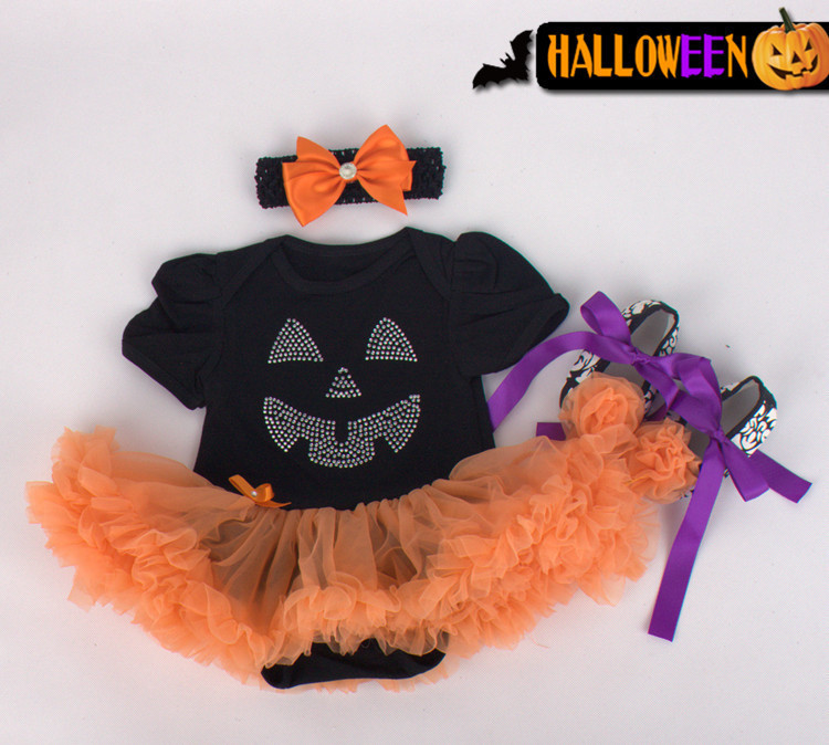2015 new arrival baby girls outfits halloween baby kids boutique baby girl halloween sets with headband and crib shoes