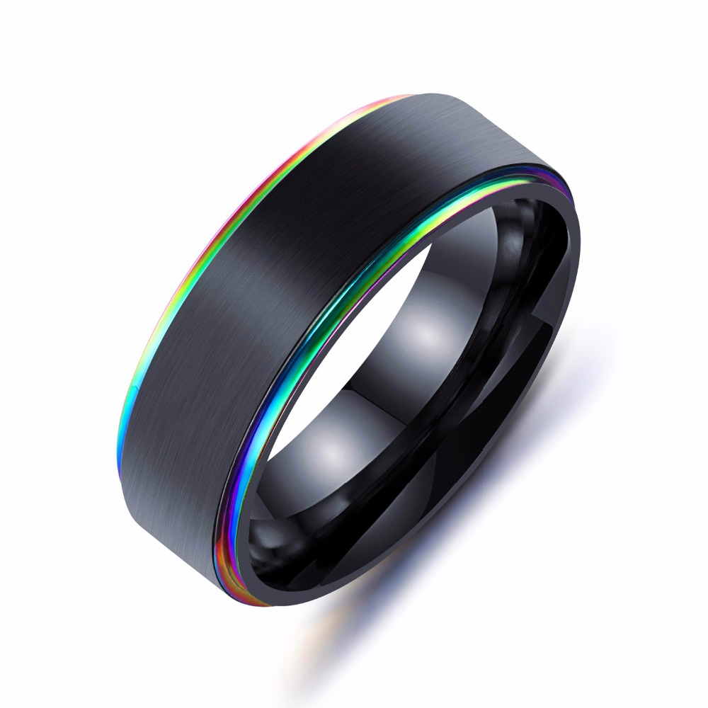 2018 Titanium Steel Ring Men's 7mm Width Ring Fashion Black Gold Colo Mens Rings Jewelry
