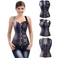 Sexy Gothic Overbust Spiral Steel Boned Faux Leather Corset Bustier Lingerie S-6XL