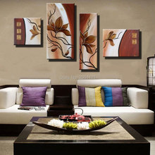 best selling home decor oil paintings on canvas hand painted living room wall pictures flower 4 panels combination