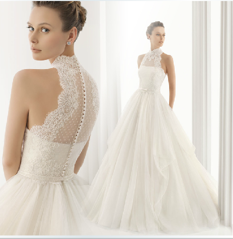 2017 New Arrival Yarn Turtleneck Elegant Halter Neck Lace Wedding Dress