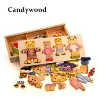 Cartoon Bear Change Clothes Wooden Puzzles Montessori Educational Dress C Jigsaw Toy For Children Boys Girls