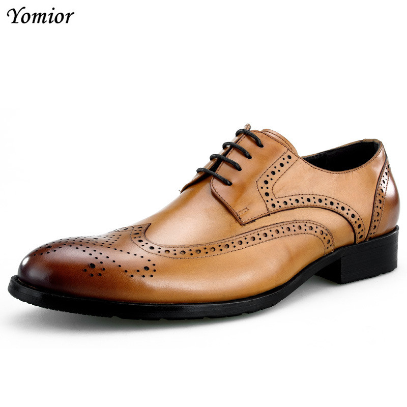Men Business Formal Dress Shoes Oxfords Men Leather Shoes Lace-Up British Style Genuine Leather Brogue Shoes Classic Fashion 2017 classic polka dot lace up men brogue dress shoes genuine leather brown black formal office business man suit shoe e71815 21 page 9