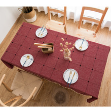 Explosion ins square lattice embroidered tablecloth Pure color cotton linen art rectangular coffee table mat