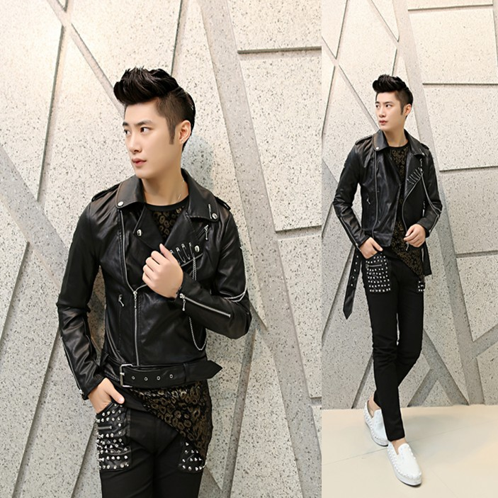The new arrival men casual jacket Korean Slim nightclub personality leather costumes hairstylist mens leather jacket coat