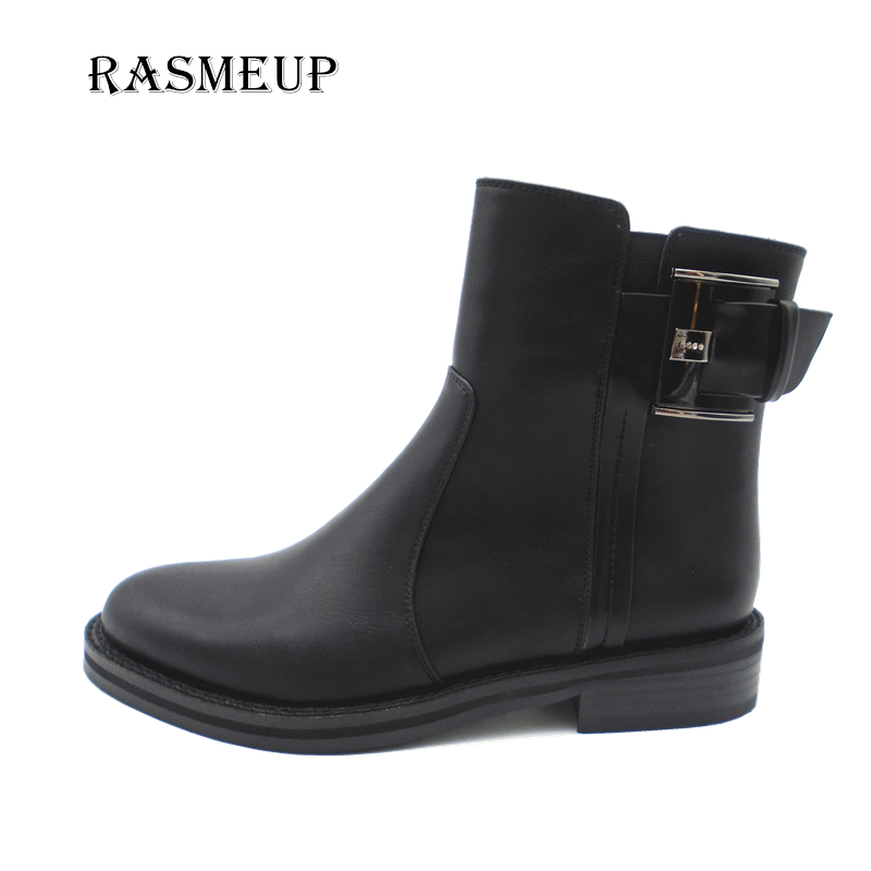 RASMEUP Fashion Women Big Buckle Leather Ankle Boots 2017 New Square Heel Martin Boots Autumn Winter Warm Woman Zipper Shoes
