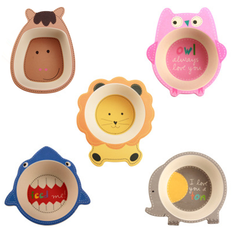 Eco-friendly Bamboo Baby Bowl Cute Cartoon Animal Dishes Bamboo Fiber Bowls Tableware Non-slip Children Dinnerware Baby Dishes