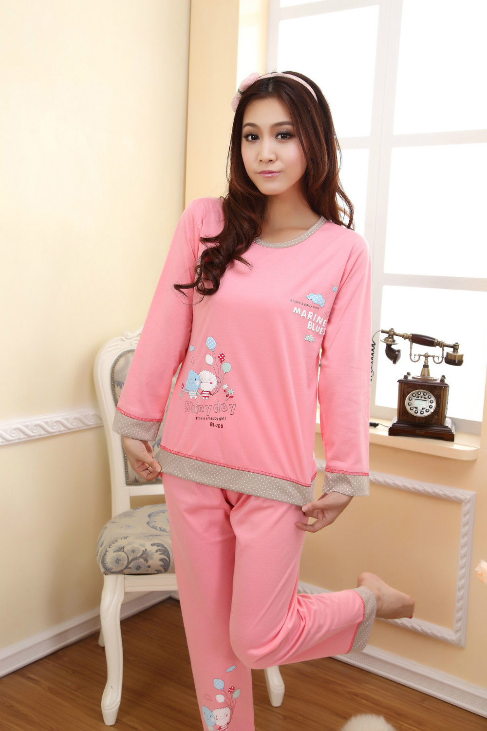 8ec3a8e0c6 girl sleeping clothes sets women pajamas sleepcoat nightgown nighty full sleeve  tops tees+full pants bedgown-in Pajama Sets from Underwear   Sleepwears on  ...