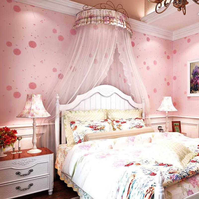 korean bedroom pink sitting children living aliexpress woven non dandelion rural warm wallpapers