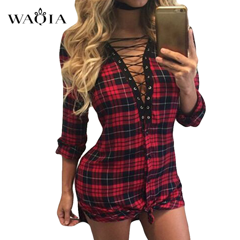New Sexy Deep V Neck Plaid Shirt Dress Women Casual Long -4489