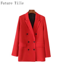 Future Time Women Blazer Long Jackets Office Ladies Suit Turn Down Collar Long Sleeve Coat Outwear Solid Bottoms Jackets WT137