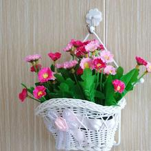 Beautiful White Silk Bowknot Design Woven Artificial Flower Hanging Baskets On Door For Wedding Festival Home Decoration Tuin
