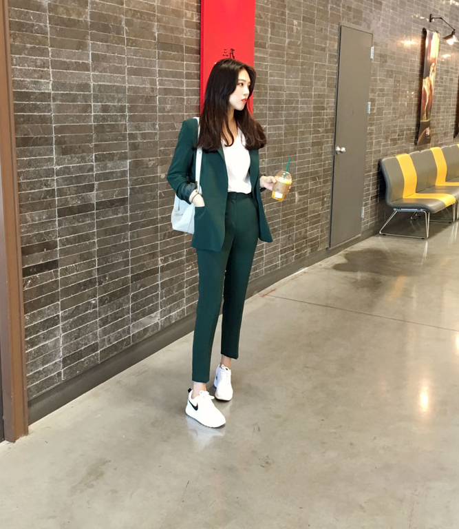 vert Costume Collants De Deux Coréenne Version pièce Nouvelle Mince Casual Harlan Bleu noir Veste Femelle Costumes Femmes Sensiblement Royal Marée P8q1qU