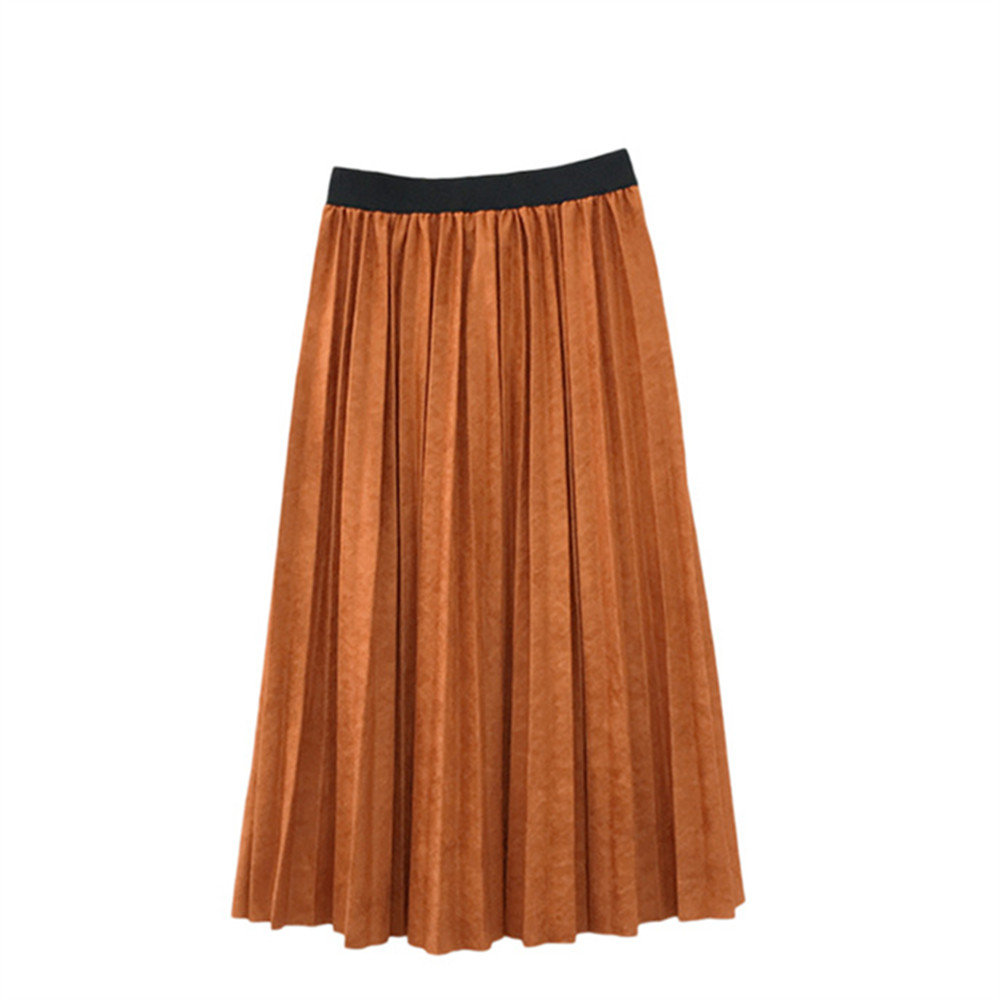 Girls pleated skirt 2018 New autumn and winter new children's big children's pleated half-length skirt dabuwawa two colors winter basic pleated skirt women long skirt solid office elegant black woolen skirt