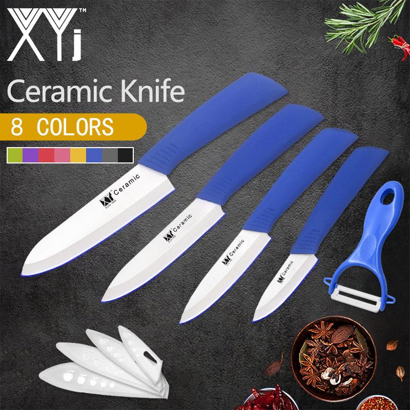 XYj 5 Pezzi Set di Coltelli di Ceramica ABS + TPR Manico Nero Lama Coltelli Da Cucina Formaggio Pane di Frutta Verdura Cucina Accessorie strumento