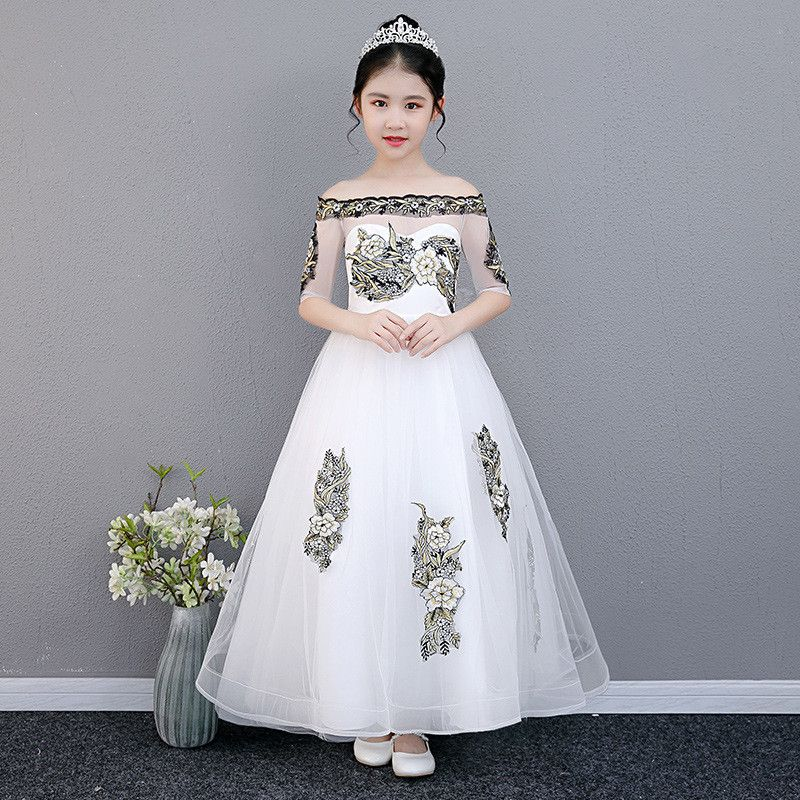 Teenage Girls Wedding Pageant Party Dress Children Trailing Princess Formal Prom Gowns Kids Girls Appliques Lace Vestidos Q120