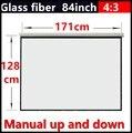 84 Polegada 4:3 tela de projeção portátil de mão Manual de vidro branco com ganho de 1.3 Fixado Na Parede tela de projeção Projetor HD 3D tela