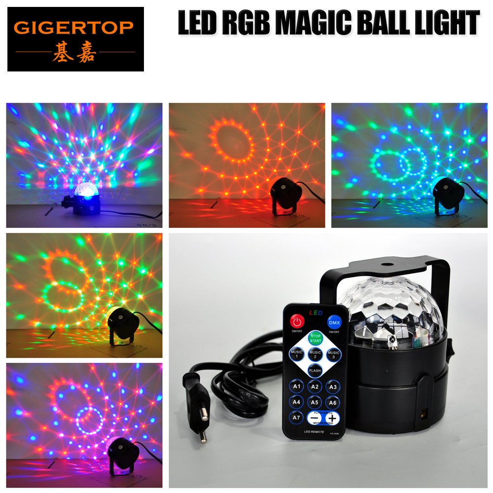 TIPTOP Light 3W RGB MINI Stage Disco Led Magic Ball Light Mounting Bracket Rotation Speed Adjustable China Post/Epacket Shipping novelty glass magic plasma ball light 3