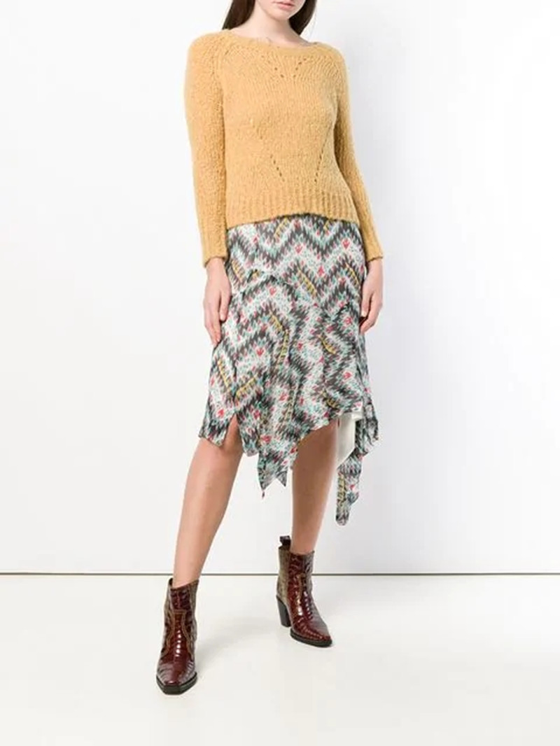 2019 New Women Flower Print Skirt Elastic Waist Irregular Skirt