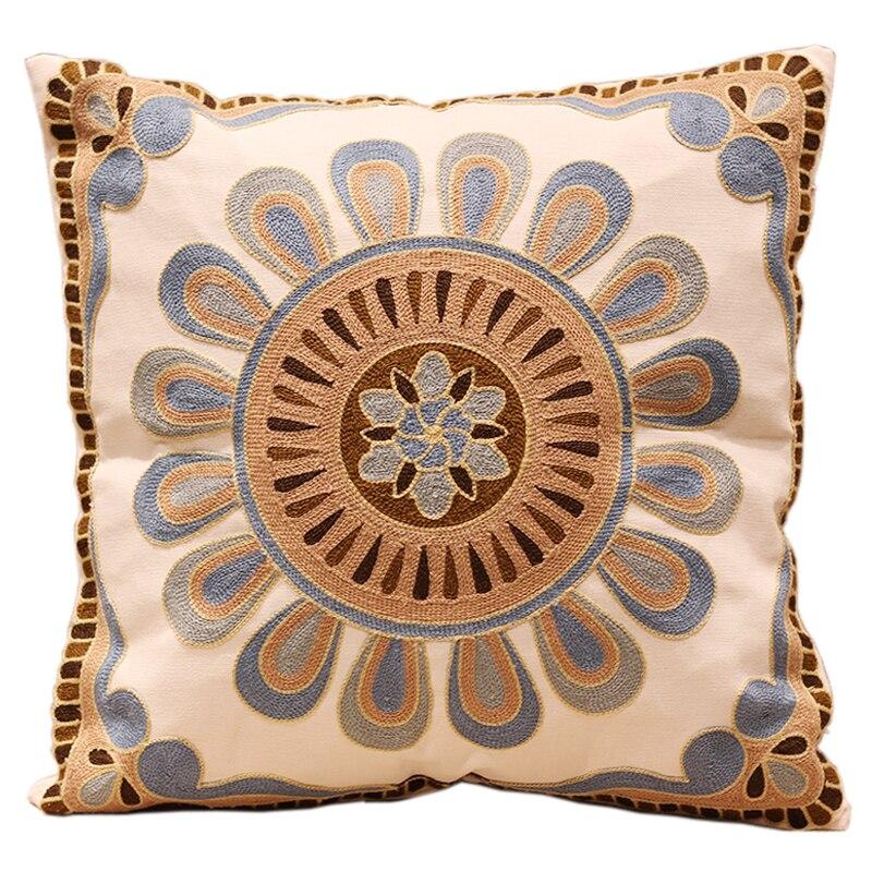 Sunflower Cushion Knitting Pattern : Aliexpress.com : Buy Blue Sunflower Embroidery Sofa Cushion Cover 100% Cotton...