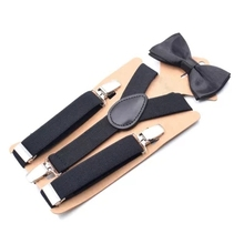 2c9a03f053cd 2.5cm Wide Solid Color For Child Boy Girl 3 Clip Bow Tie Set Suit Baby  Suspenders