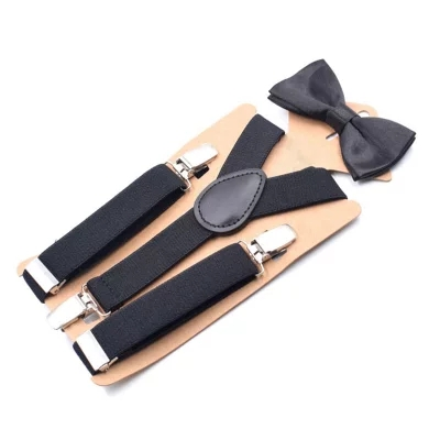 Vogue 2.5Cm Extensive Strong Colour Suspenders For Little one Boy Lady three Clip Suspenders Bow Tie Set Swimsuit Child Suspenders Adjustable Reward
