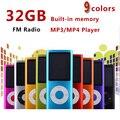 Delgado cuarto jugador mp4 de la gen 32 GB 9 Colores para elegir el tiempo de reproducción de Música 30 Horas de radio fm reproductor de vídeo