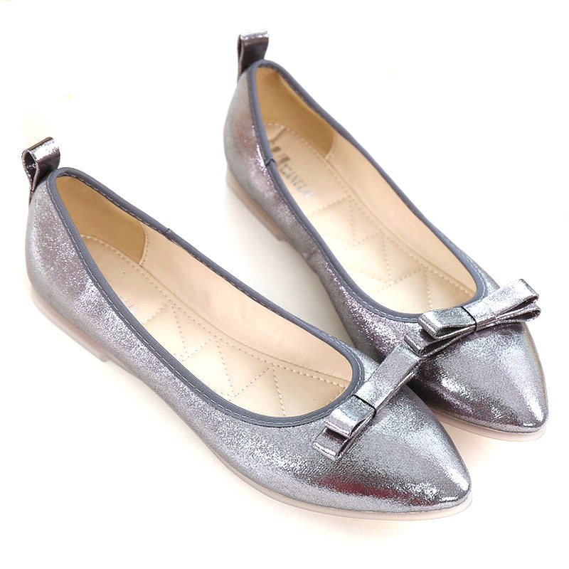 New Woman Flats PU Leather Loafers Shoes Silver Gold Casual Shoes Pointed Toe Luxury Brand Shoes