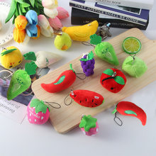 Hot All Fruits Vegetables Cute Mini Pendant for baby cradle Best child educational toys 5-10CM Approx Stuffed Plush Toy Dolls(China)