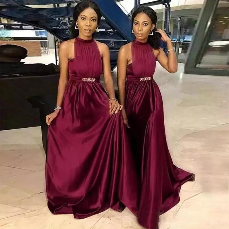 2019 Halter A-Line Long Bridesmaids Dresses Sweep Train Formal Long Vestidos De Honor Of Maid Cheap Burgundy dress