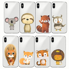 cartoon zebra bear fox lion bird panda tiger soft silicone phone case for iPhone XS MAX XR 7Plus 8Plus 5 5S 6 6S se 6Plus X 7 8